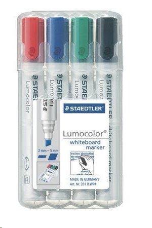 """Staedtler Popisovač na bílou tabuli """"Lumocolor 351 B"""", sada, 4 barvy, klínový hrot; 351 B WP4"""