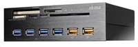 """AKASA čtečka karet AK-HC-07BK Interconnect EX do 5.25"""", 5-slotová, 4x USB 3.0, 2x nabíjecí USB, E-SATA, hliník, černá; AK-HC-07BK"""