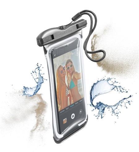 Vodotěsné univerzální pouzdro pro mobilní telefony Cellularline VOYAGER 2019, černé; VOYAGER19K