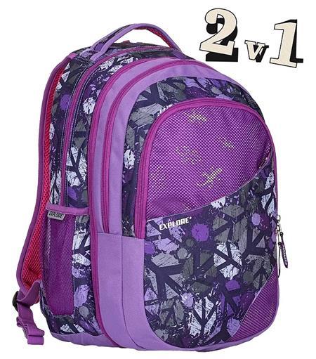 EXPLORE Školní batoh 2v1 DANIEL fialový; 132903