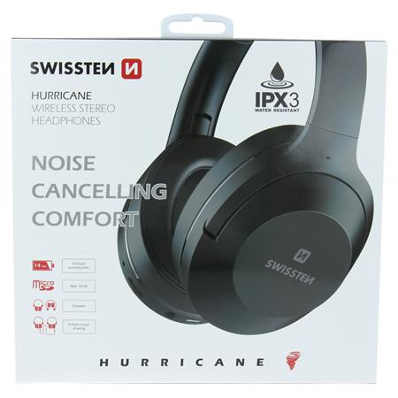 Swissten bluetooth stereo sluchátka hurricane černá; 52510503