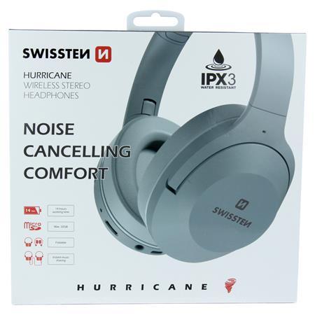 Swissten bluetooth stereo sluchátka hurricane šedá; 52510504