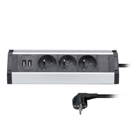 Solight prodlužovací přívod, 3 zásuvky + 2X USB, 1,5m, 3 x 1mm2, hliník, rohový design; PP104USB