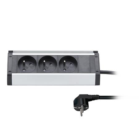Solight prodlužovací přívod, 3 zásuvky, 1,5m, 3 x 1mm2, hliník, rohový design; PP104
