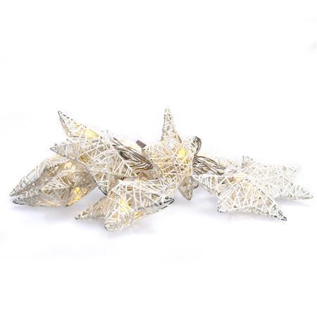 Solight LED řetěz vánoční hvězdy bílé proplétané, 10LED, 1m, 2x AA, IP20 ; 1V203