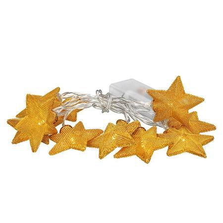 Solight LED řetěz vánoční hvězdy zlaté, 10LED řetěz, 1m, zlatá barva, 2x AA, IP20 ; 1V212