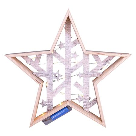 Solight LED vánoční hvězda, přírodní dřevo 2 x AA , teplá bílá; 1V231