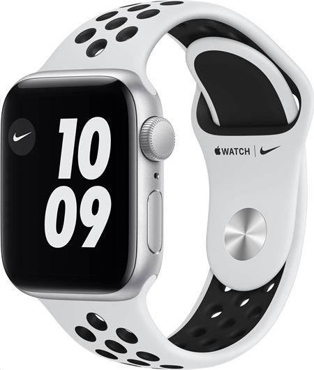 Apple Watch Nike SE GPS, 40mm Silver Aluminium Case with Pure Platinum/Black Nike Sport Band - Regular; myyd2hc/a