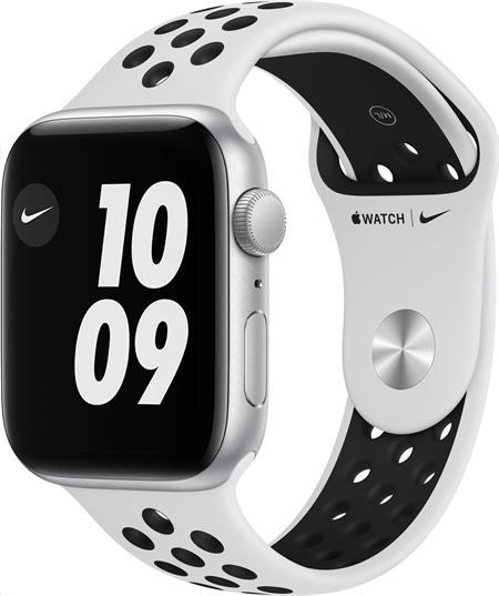 Apple Watch Nike SE GPS, 44mm Silver Aluminium Case with Pure Platinum/Black Nike Sport Band - Regular; myyh2hc/a