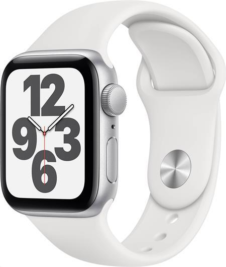 Apple Watch SE GPS, 40mm Silver Aluminium Case with White Sport Band - Regular; mydm2hc/a
