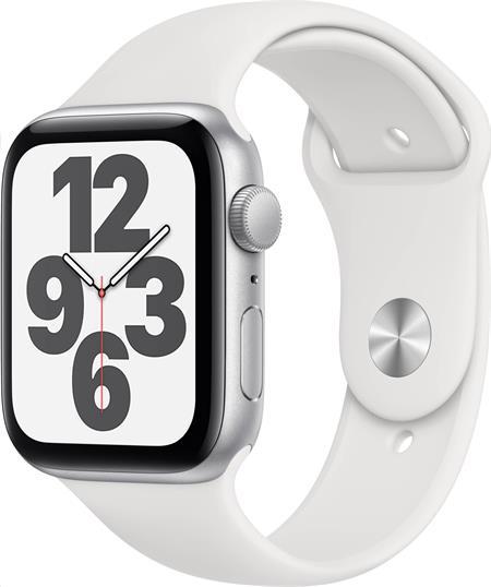 Apple Watch SE GPS, 44mm Silver Aluminium Case with White Sport Band - Regular; mydq2hc/a