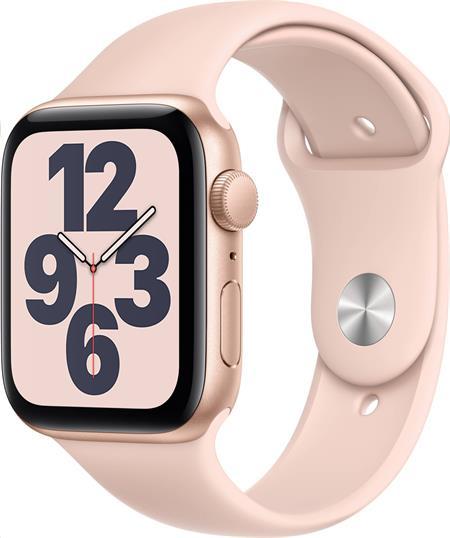 Apple Watch SE GPS, 44mm Gold Aluminium Case with Pink Sand Sport Band - Regular; mydr2hc/a
