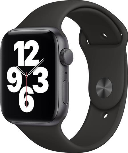 Apple Watch SE GPS, 44mm Space Gray Aluminium Case with Black Sport Band - Regular; mydt2hc/a