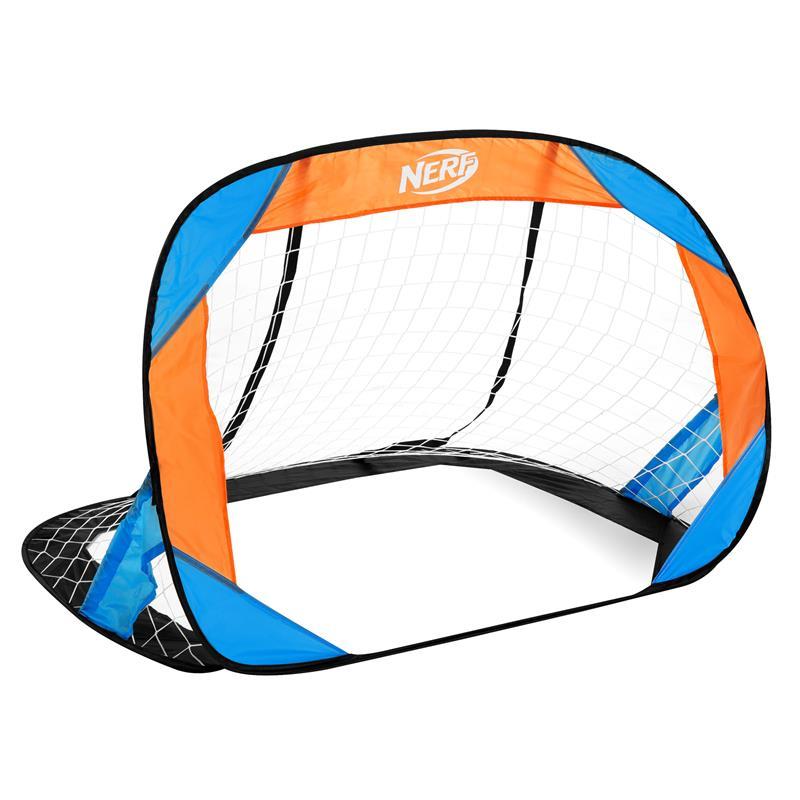Spokey HASBRO BUCKLER Samorozkládací fotbalová branka 2 ks, zn. NERF modro-oranžová; K927254