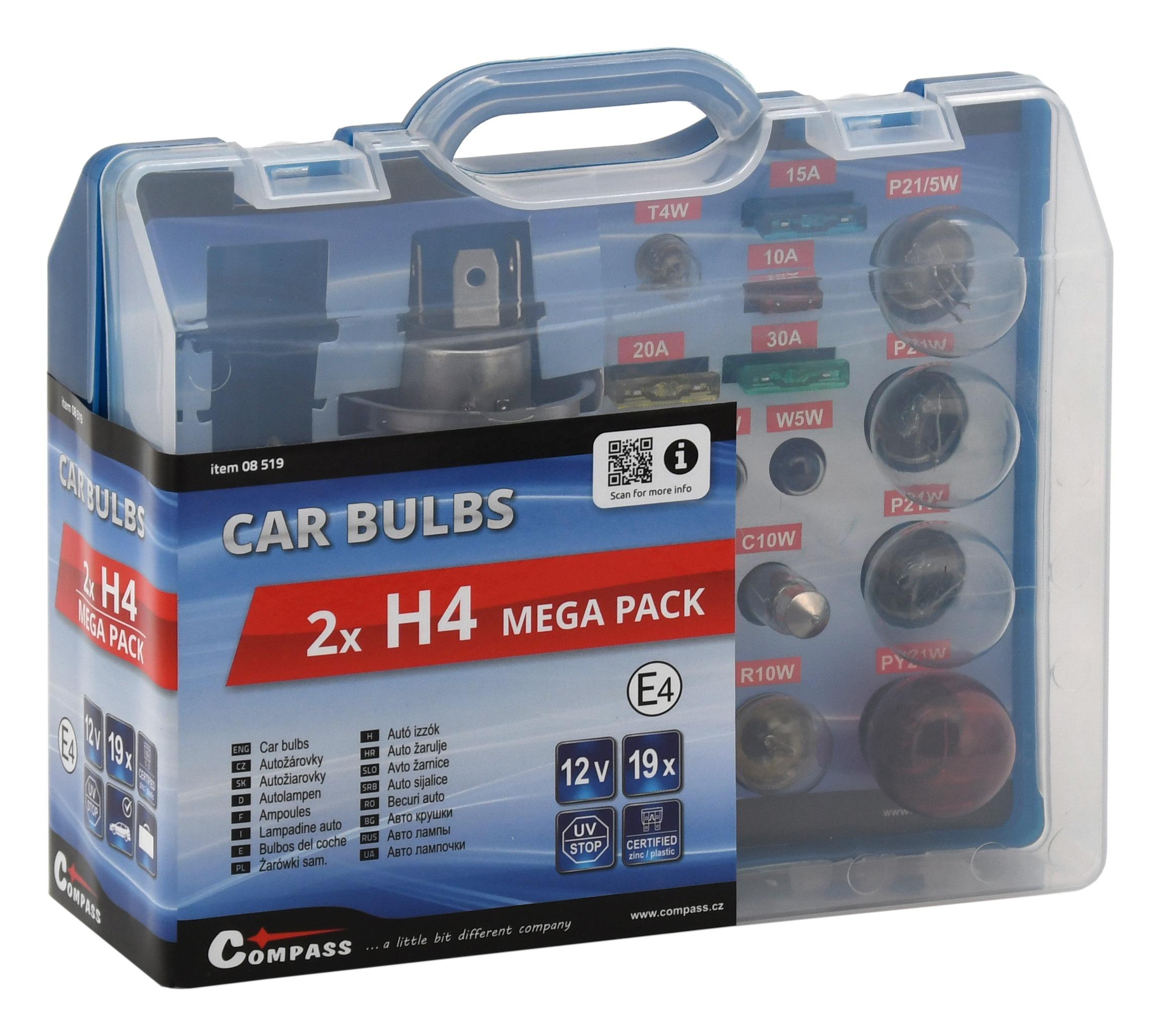 Žárovky 12V servisní box MEGA H4+H4+pojistky; 8519