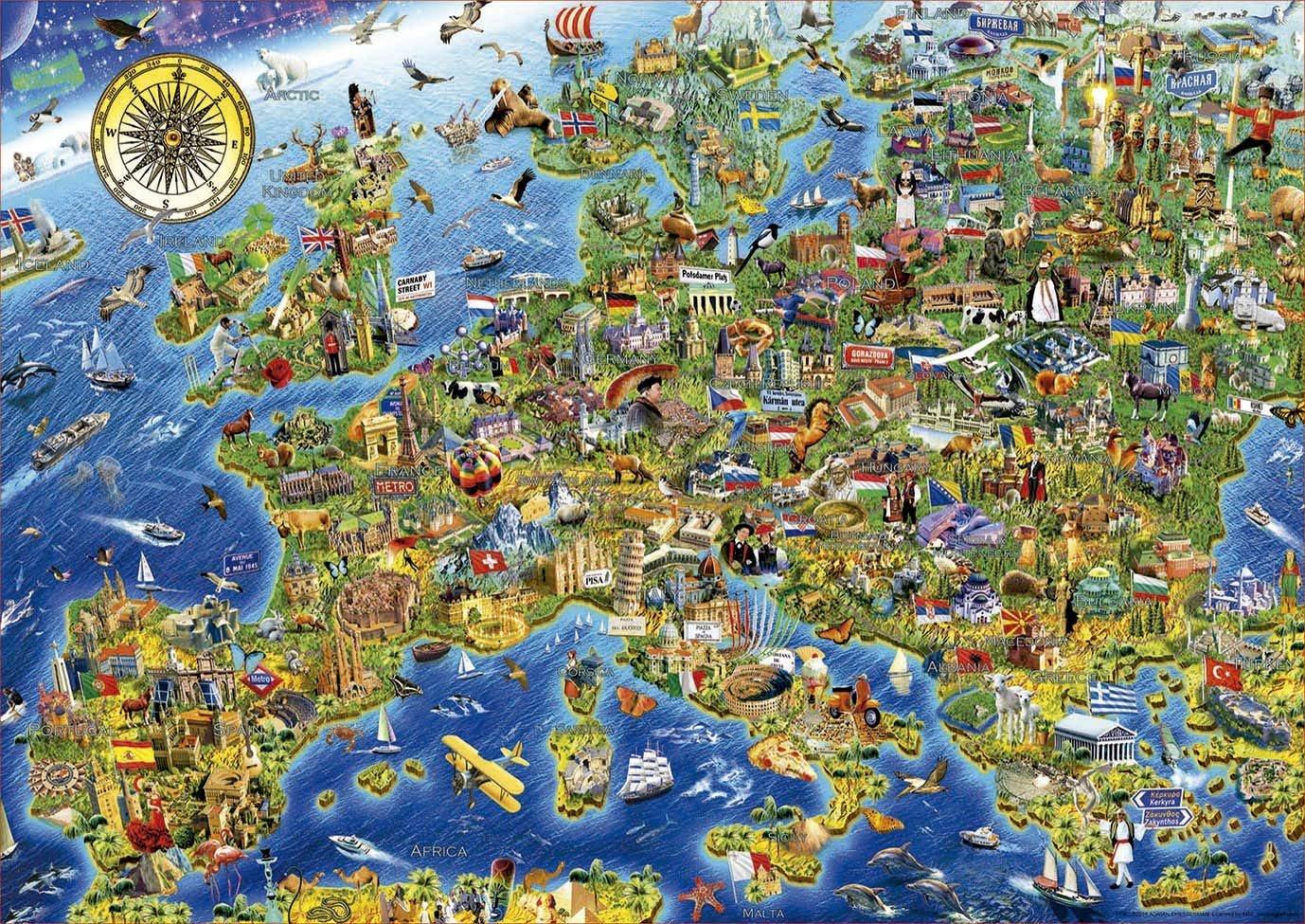 EDUCA Puzzle Šílená mapa Evropy 500 dílků; 124838