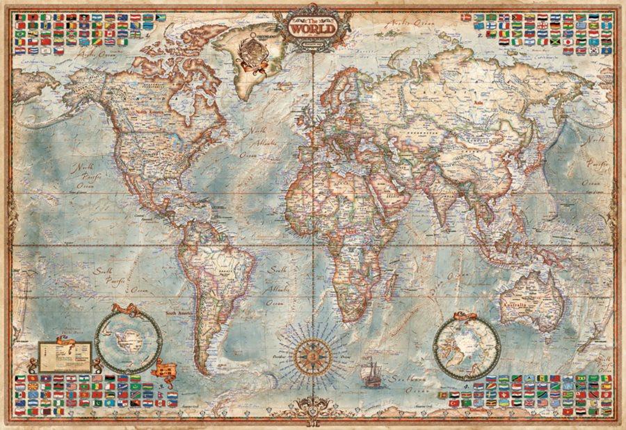 EDUCA Miniaturní puzzle Politická mapa světa 1000 dílků; 115808