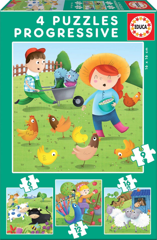 EDUCA Puzzle Zvířátka z farmy 4v1 (6,9,12,16 dílků); 118630