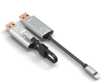 PremiumCord Lightning nabíjecí a synchr. kabel, 8pin - USB s čtečkou karet, 15cm; kipod39
