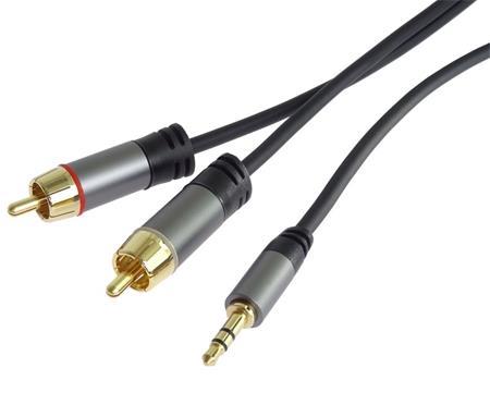 PremiumCord HQ stíněný kabel stereo Jack 3.5mm-2xCINCH M/M 5m; kjqcin5