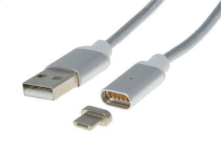 PremiumCord Magnetický micro USB 2.0, A-B nabíjecí a datový kabel 1m, stříbrný; ku2m1fgs