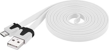 PremiumCord Kabel micro USB 2.0, A-B 2m, plochý PVC kabel, bílý; ku2m2fp1