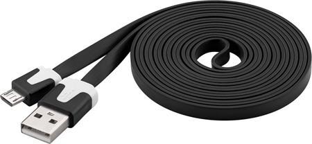 PremiumCord Kabel micro USB 2.0, A-B 2m, plochý PVC kabel, černý; ku2m2fp2