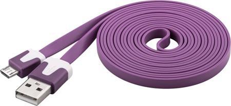 PremiumCord Kabel micro USB 2.0, A-B 2m, plochý PVC kabel, fialový; ku2m2fp3