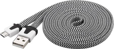 PremiumCord Kabel micro USB 2.0, A-B 2m, plochý textilní kabel, černo-bílý; ku2m2ft