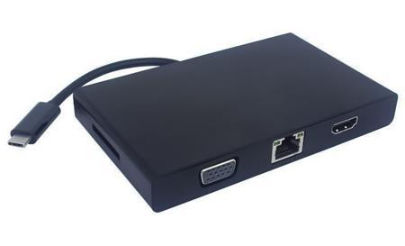 PremiumCord Převodník USB3.1 na RJ45, HDMI, VGA, USB3.0, SD,audio ,PD charge; ku31dock01