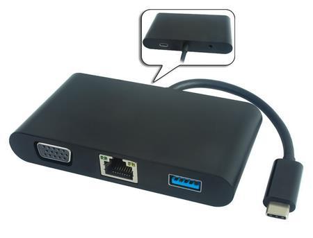 PremiumCord Převodník USB3.1 na VGA + Audio + USB3.0 + RJ45 + PD charge; ku31dock04