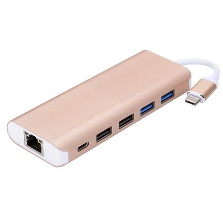 PremiumCord USB3.1 - Gigabit RJ45 adapter + hub 4x USB2.0 female + 1x PD; ku31hub04