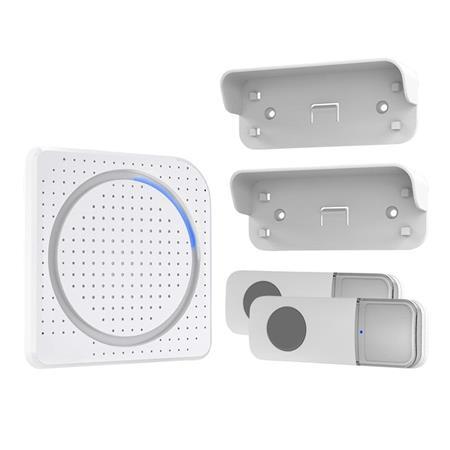 Solight bezdrátový zvonek, 2 tlačítka, do zásuvky, 200m, bílý, learning code; 1L67DT