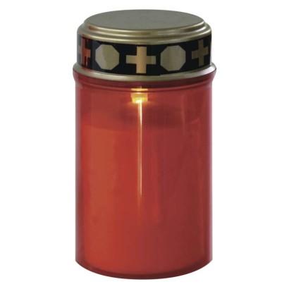 EMOS LED hřbitovní svíčka červená, 2x C, venkovní i vnitřní, teplá bílá, časovač; 1550000056