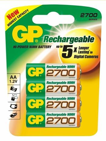 GP baterie nabíjecí NiMH 2700 mAh, AA, 4 ks