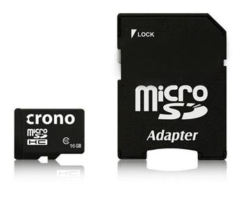Crono micro Secure Digital HC (microSDHC) karta 16GB Class 10 + adaptér; CRC1/16GB