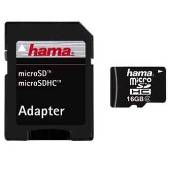 HAMA 104345 microSDHC 16GB Class 4 + adaptér; 104345