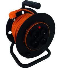 Solight prodlužovací kabel na bubnu, 4 zásuvky, oranžový, 25m; PB03