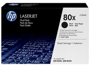 Černá tonerová kazeta HP 80X LaserJet, dvojbalení