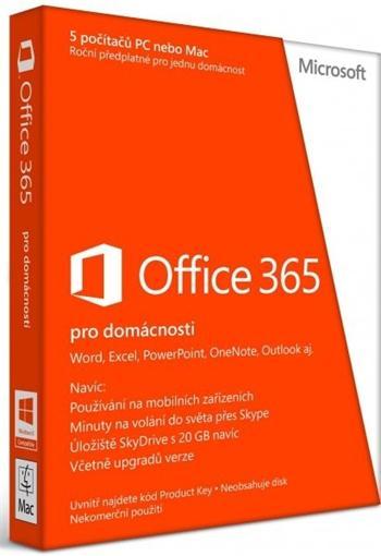 Microsoft Office 365 Home Premium SK - předplatné na 1 rok; 6GQ-00181
