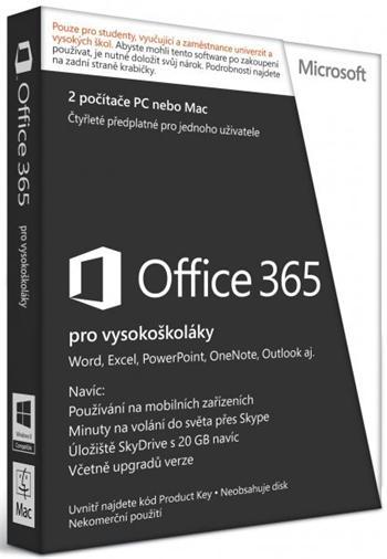 Microsoft Office 365 pro vysokoškoláky SK - předplatné na 4 roky