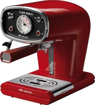 ARIETE 1388 - Retro pákové espresso, červené; 1388/30