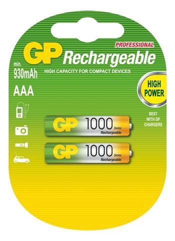 Nabíjecí baterie GP NiMH HR03 (AAA) 1000, 2 ks v blistru; 1032112086