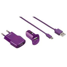 Micro USB nabíjecí set Picco 3v1, fialová