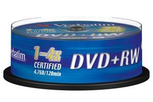 VERBATIM DVD+RW - médium DVD, DLP, 4,7GB, 4x, 25ks spindle 43489