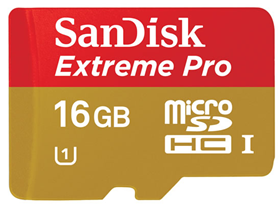 SanDisk microSDHC 16GB Extreme Pro 95 MB/s, class10