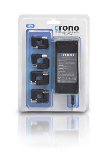 Crono CB10038, univerzální napájecí adaptér, 90W, 2x USB, 8 konektorů; CB10038