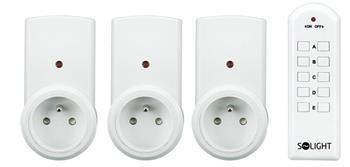 Solight dálkově ovládané zásuvky, 3 zásuvky, 1 ovladač; DY01