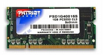 PATRIOT SO-DIMM 1GB DDR PC3200 (400MHz); PSD1G40016S
