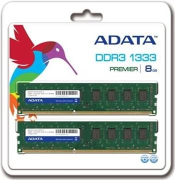 ADATA 8GB (Kit 2x4GB) DDR3 1333MHz CL9, retail; AD3U1333W4G9-2
